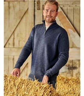 Pull à encolure zippée - Homme - Laine d'agneau