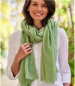 Lurex Edge Schal aus reine Wolle für Damen