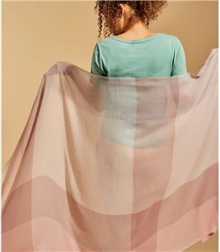 Pastell Karo-Schal aus reiner Wolle für Damen