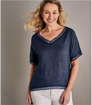 Womens Lace Trim Vee Neck Linen Top