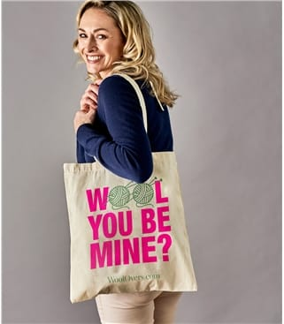 Printed Cotton Tote Bag 1size Wool You Be Mine