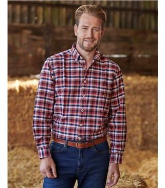 Washed Cotton Oxford Check Shirt