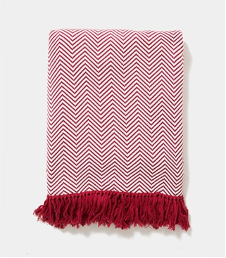 Image of 100% Cotton Chevron Blanket 1size Cream/Red