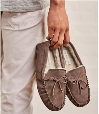 Mens Sheepskin Hard Sole Moccasin Slipper