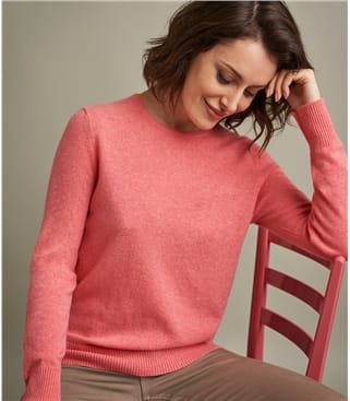 Womens Luxurious Pure Cashmere Crew Neck Sweater