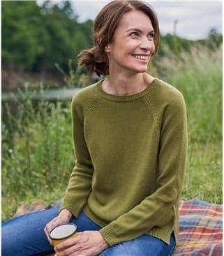 Pullover mit Rippstrick-Rücken aus Merino- und Kaschmirwolle für Damen