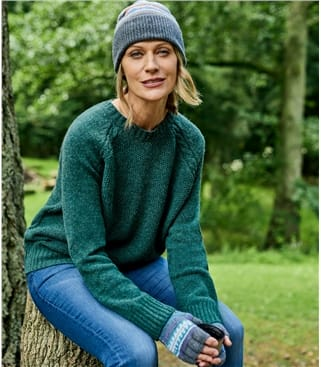 Womens 100% Lambswool Moss Stitch Raglan Crew Neck Sweater