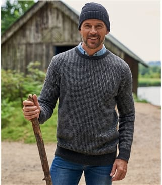 Mens Lambswool Geo Stitch Sweater