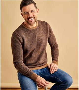 Pullover, zweifarbig meliert aus Lammwolle für Herren