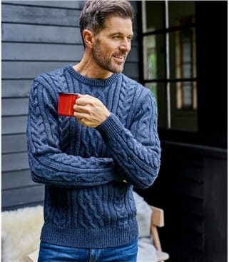 Pure Wool Aran Knitted Sweater