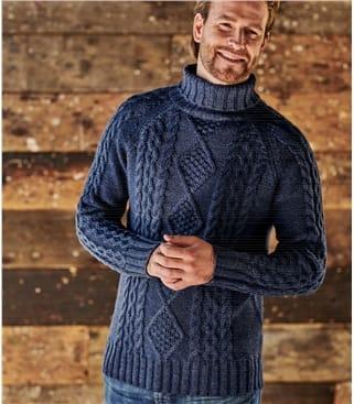 Rollkragenpullover mit Aran-Zopfmuster aus reiner Wolle für Herren