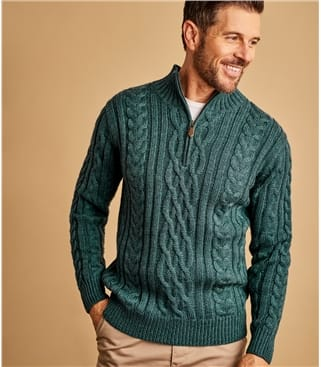 Mens Pure Wool Aran Cable Zip Neck Knitted Sweater