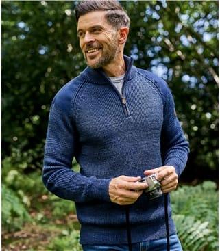 Hill Walker Pullover mit kurzer Reissverschluss aus reiner Wolle für Herren
