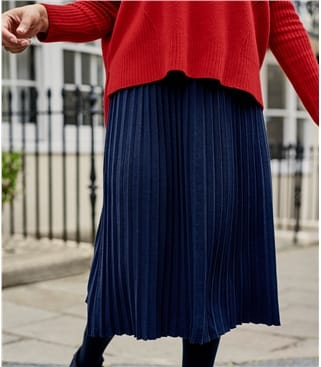 Womens Cotton Blend Pleat Skirt