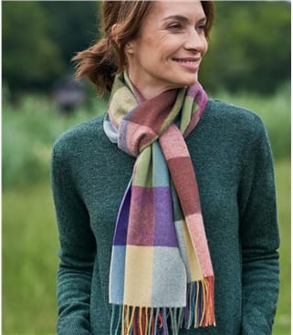 100% Merino New Check Scarf