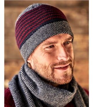 Herrenmütze aus Lammwolle mit modernem Muster