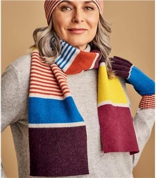Écharpe à rayures colourblock - Femme - Laine d'Agneau