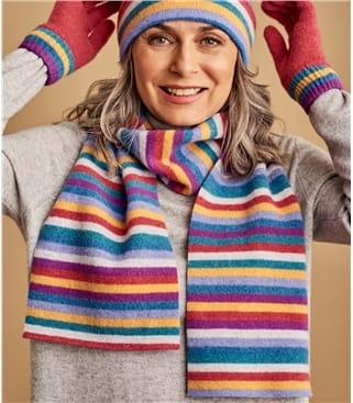 Schal mit Regenbogen-Streifen aus Lammwolle für Damen
