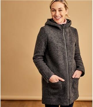 Jacke mit Kaputze aus gekochte Wolle für Damen