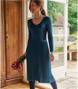 Robe colour block à manches longues - Femme - Coton mélangé