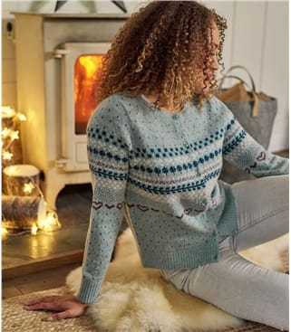 Womens 100% Lambswool Fairisle Cardigan