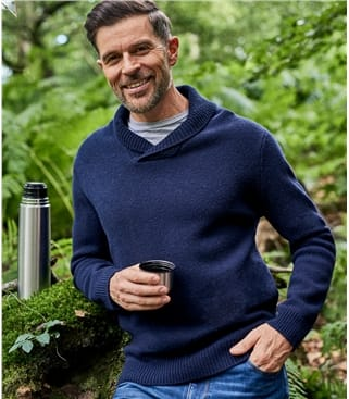 Mens Lambswool Shawl Collar Jumper
