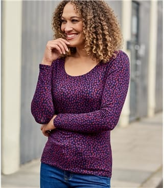 Langärmliges Jersey T-Shirt mit U-Ausschnitt aus Viskose mit geringem Elastananteil für Damen