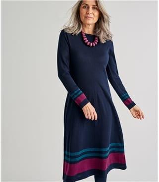 Womens Merino Striped Hem Dress