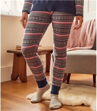 Womens Wool Blend Fairisle Lounge Leggings