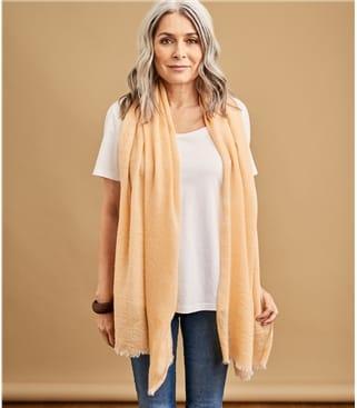 Schal in feinem Fischgrätenmuster aus Wolle für Damen
