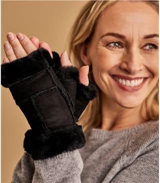 Womens Fingerless Sheepskin Mitten