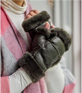Fingerlose Fäustlinge aus Schafleder für Damen