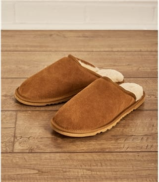 Mens Sheepskin Mule Slipper UK 10 Chestnut