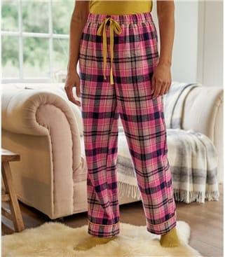 Pyjama Hosen mit Karomuster aus Baumwolle für Damen