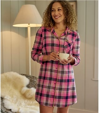 Womens Cotton Woven Pyjama Check Long Night Shirt