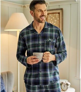 Pyjama Top mit Karomuster aus Baumwolle für Herren
