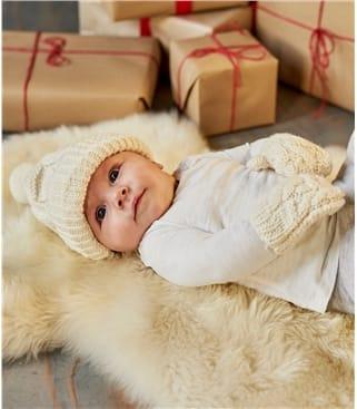 Bonnet et moufles tricotées main - Pur Mérinos