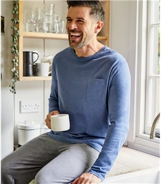 Langärmliges T-Shirt aus organischer Baumwolle für Herren