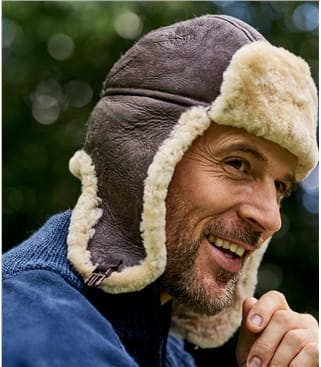 Mens Sheepskin Aviator Hat