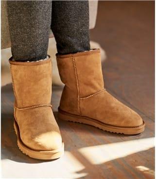 Женские ботинки из овчины