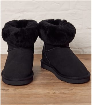 Womens Sheepskin Roll Down Boots UK 5 Black