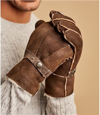 Mens Buckle Detail Sheepskin Glove