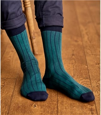 Mens Pima Cotton Vertical Stripe Sock