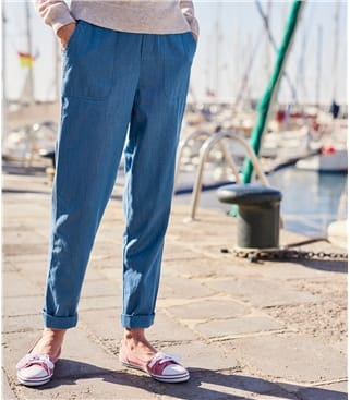 Womens Cotton Tapered Leg Trousers