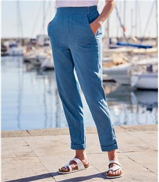 Womens Cotton Tapered Leg Trousers 14 Chambray
