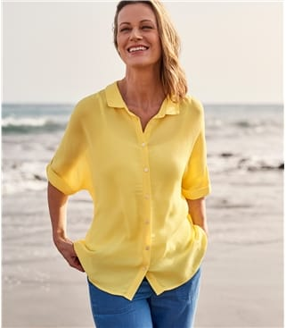 Womens Button Through Boxy Shirt 14 Limoncello