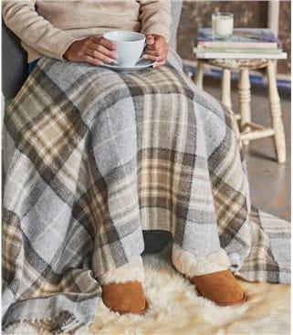Tartan-Kniedecke aus reiner Wolle