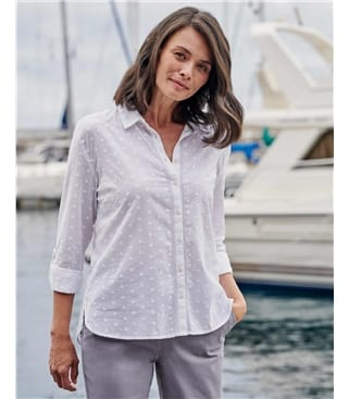 Lace Insert Dobby Shirt