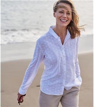 Womens Lace Insert Dobby Shirt