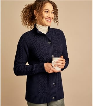 Womens Cable High Neck Button Cardigan